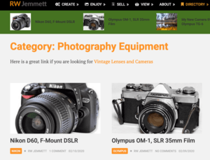 RW Jemmett Photography Camera and Lens Information