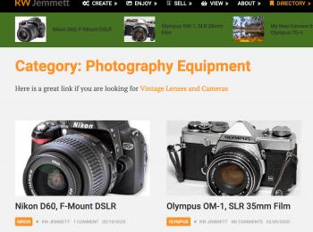RW Jemmett Photography Camera and Lens Information