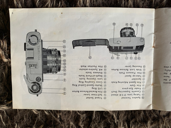 An original Yashica Minister II Instruction Booklet in good condition. The inside back page has information about the origibal purchase - 1966.
